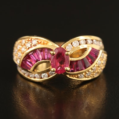 18K Ruby and Diamond Ring with Bypass Style Shoulders
