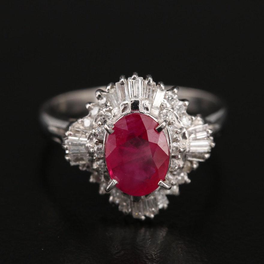 Platinum Ruby and Diamond Ballerina Ring