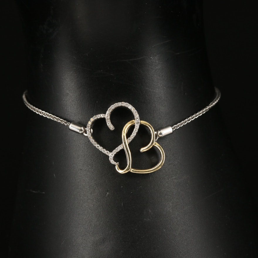 Sterling Diamond Interlocking Heart Bolo Bracelet with 10K Accent