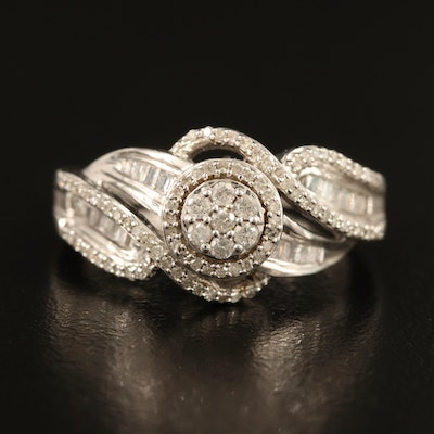 Sterling Diamond Ring with Twisted Shoulders