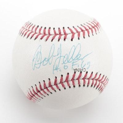 """Bob Feller Signed """"H.O.F. 62"""" Official League Rawlings Baseball, COA"""