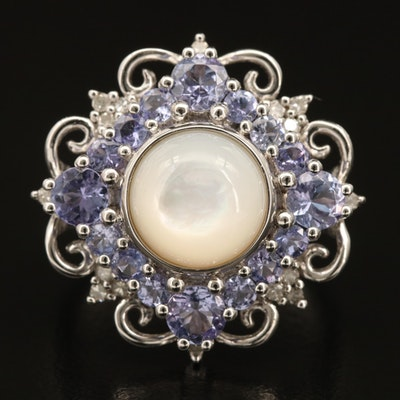 Sterling Mother of Pearl, Tanzanite and Diamond Ring
