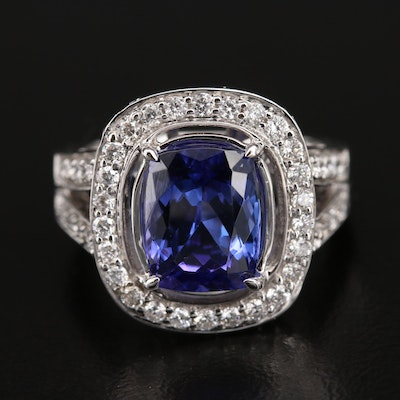 Marchesa 14K 3.50 CT Tanzanite and Diamond Halo Ring with Split Shoulders
