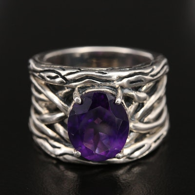 Sterling Silver Amethyst Ring with Woven Openwork Shoulders