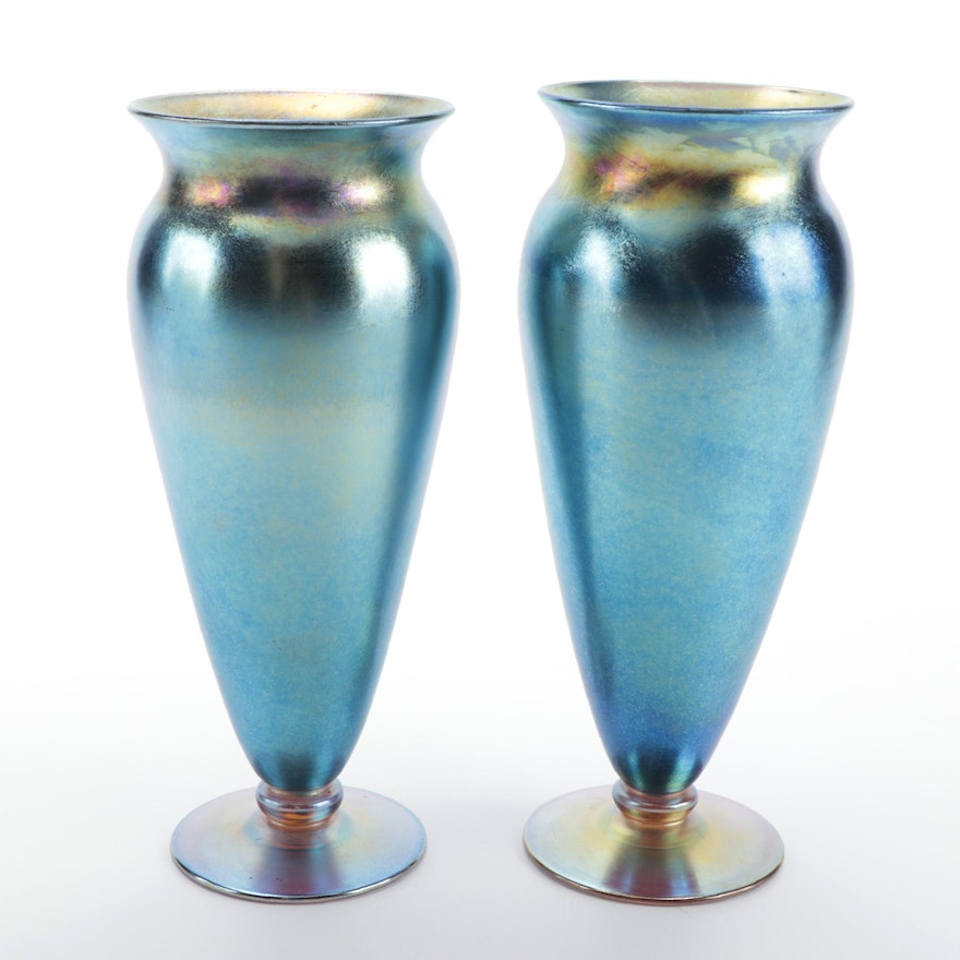 Pair of Durand Iridescent Art Glass Trumpet Vases, Early to Mid-20th Century