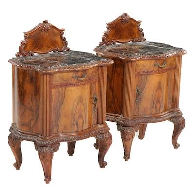 Pair of Louis XV Style Figured Walnut-Veneered and Portoro Marble Nightstands
