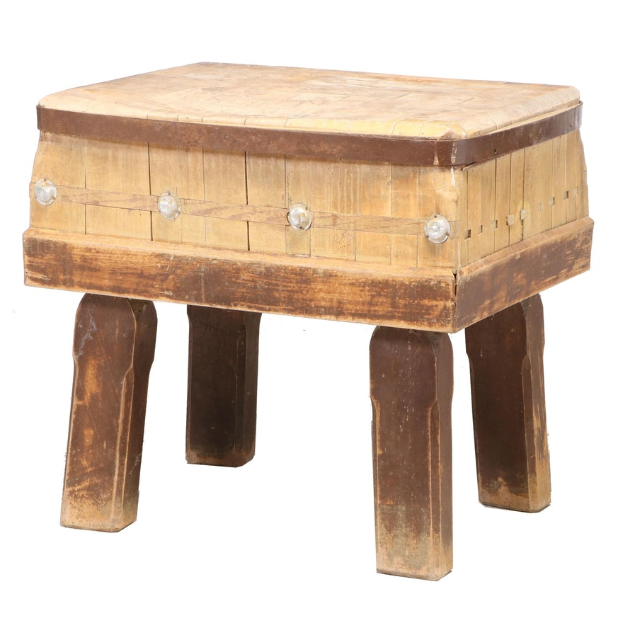 Burgdorf Swiss Butcher's Block Table, Early to Mid 20th Century