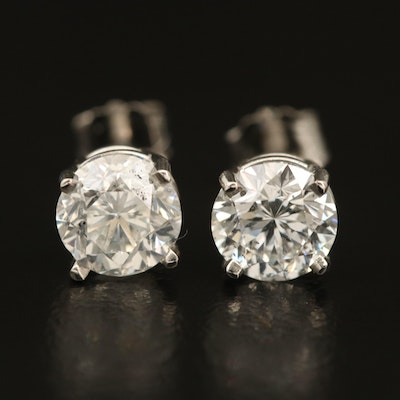 Platinum 1.80 CTW Diamond Solitaire Earrings with GIA EReports