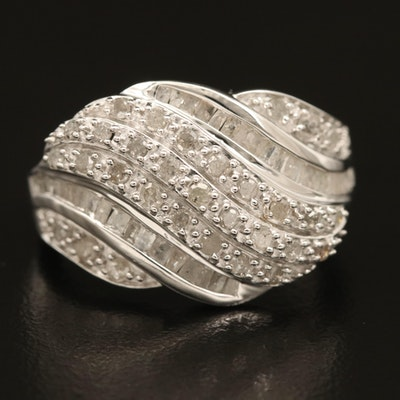 Sterling Diamond Tiered Wave Ring