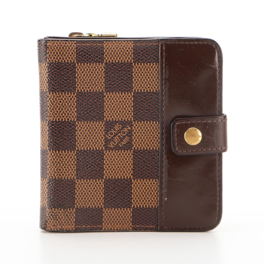 Louis Vuitton Compact Zippy Wallet in Damier Ebene Canvas and Leather