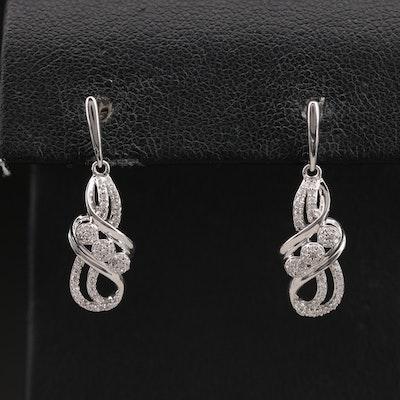 Sterling Diamond Cluster Earrings