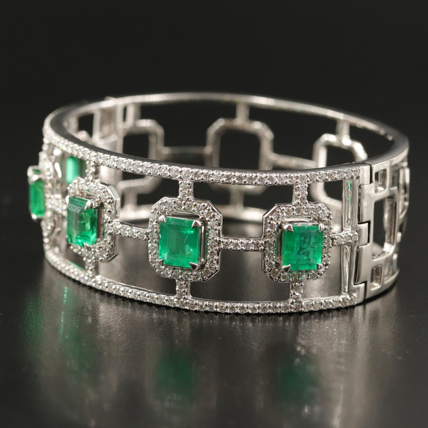 18K 9.30 CTW Emerald and 4.45 CTW Diamond Wide Lattice Bangle