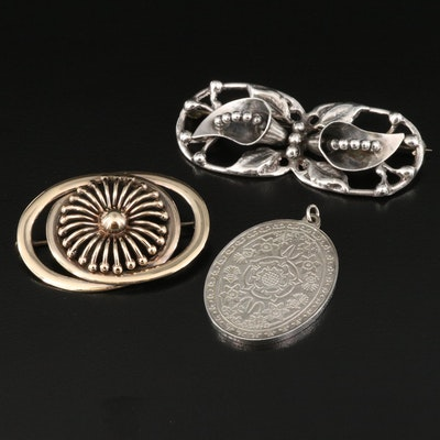 Silver Jubilee Floral Engraved Pendant and Brooches with 14K Accent