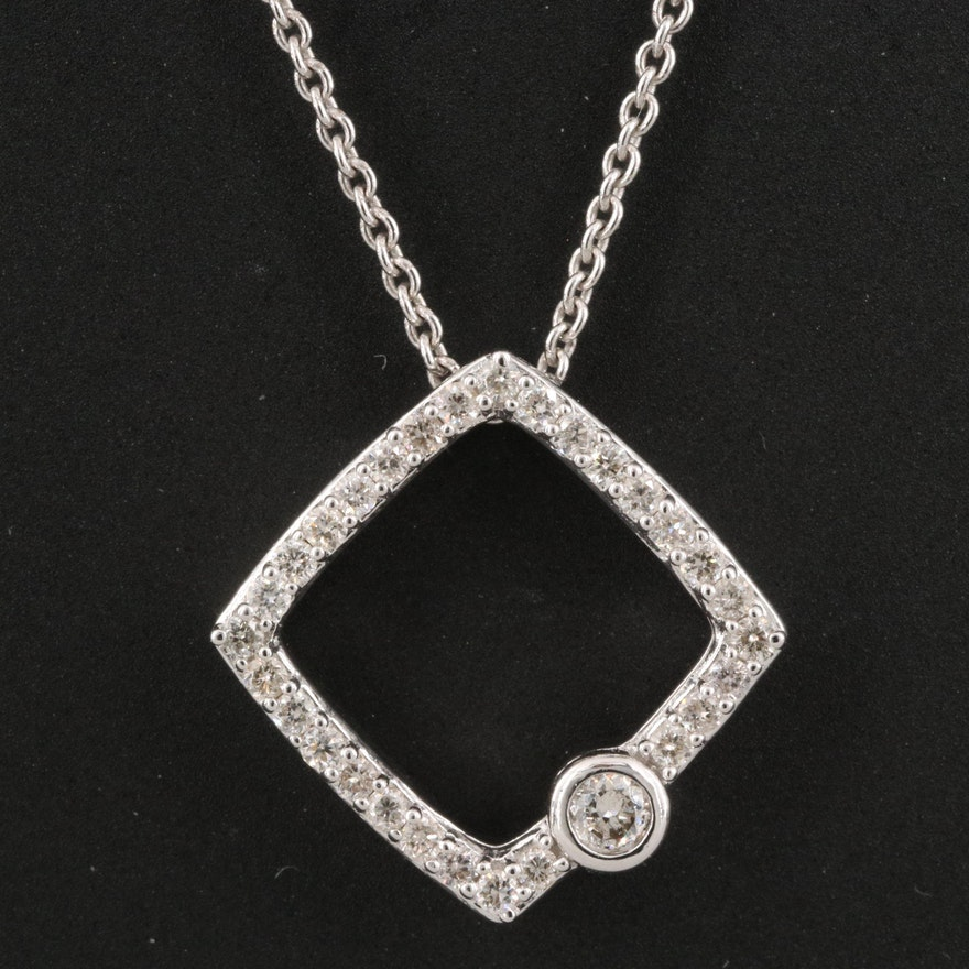 Sterling Diamond Geometric Pendant Necklace