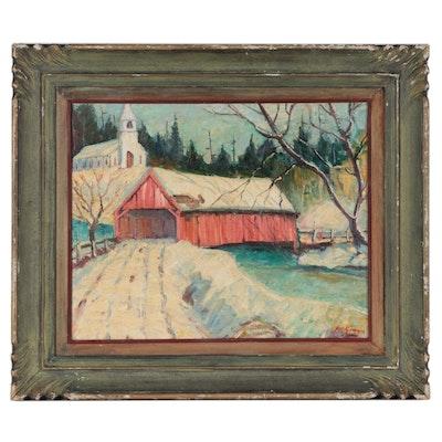 Arthur Clifton Goodwin Winter Landscape Oil Painting of Covered Bridge