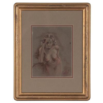 Everett Shinn Figurative Pastel Drawing of Female Nude
