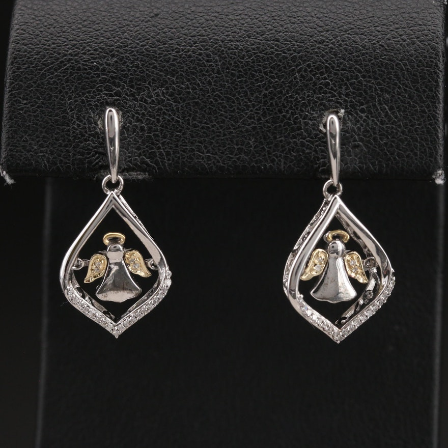 Sterling Diamond Floating Angel Drop Earrings with 10K Accent