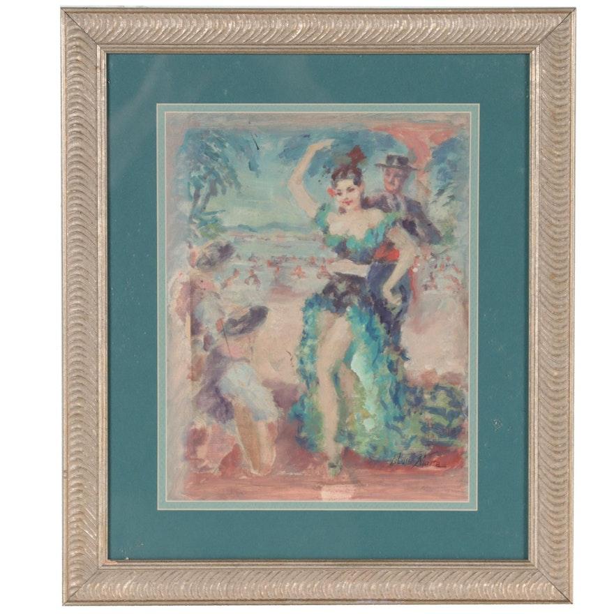 Figurative Oil Painting of Stylized Flamenco Scene, 1930s