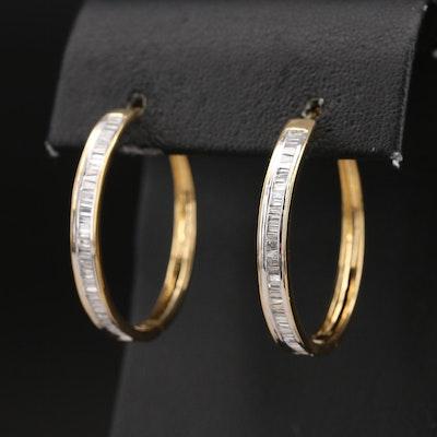 Sterling 1.00 CTW Diamond Baguette Channel Set Hoop Earrings