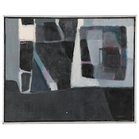 """Ronald Newman Abstract Oil Painting """"White and Black,"""" 1959"""