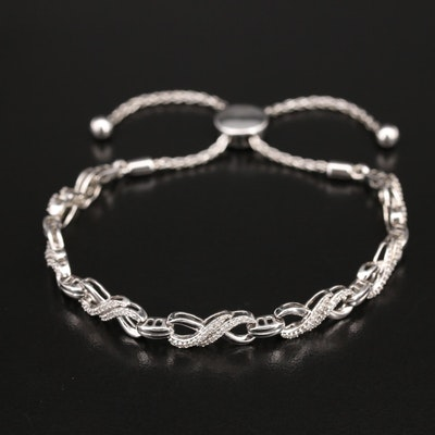 Sterling Diamond Infinity Bolo Bracelet