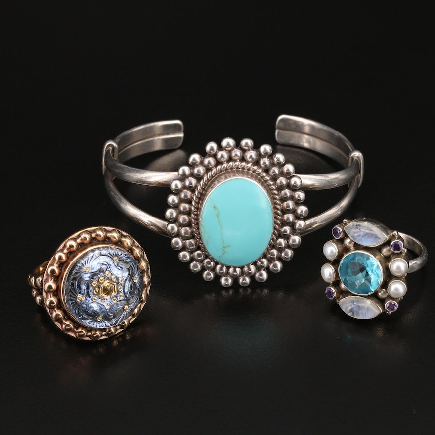 Nicky Butler and Amy Kahn Russell Sterling and Bronze Rings with Cuff