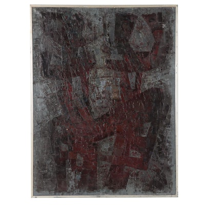 Robert Franquinet Abstract Oil Painting, 1967