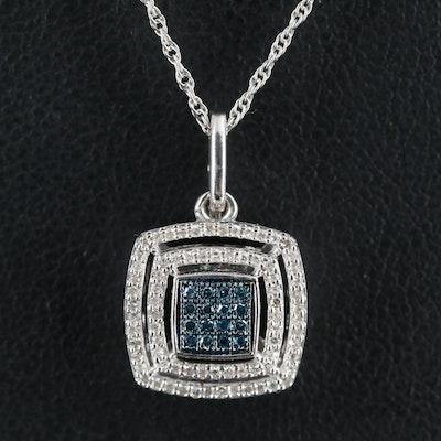Sterling Diamond Double Halo Pendant Necklace