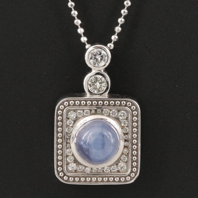 14K Star Sapphire and Diamond Necklace