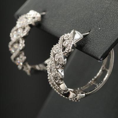 Sterling Diamond Openwork Twist Hoop Earrings