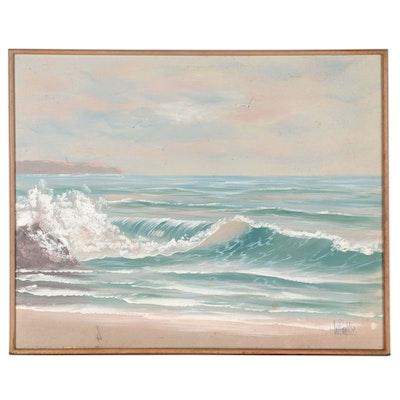 Vanguard Studios Seascape Oil Painting, Late 20th Century