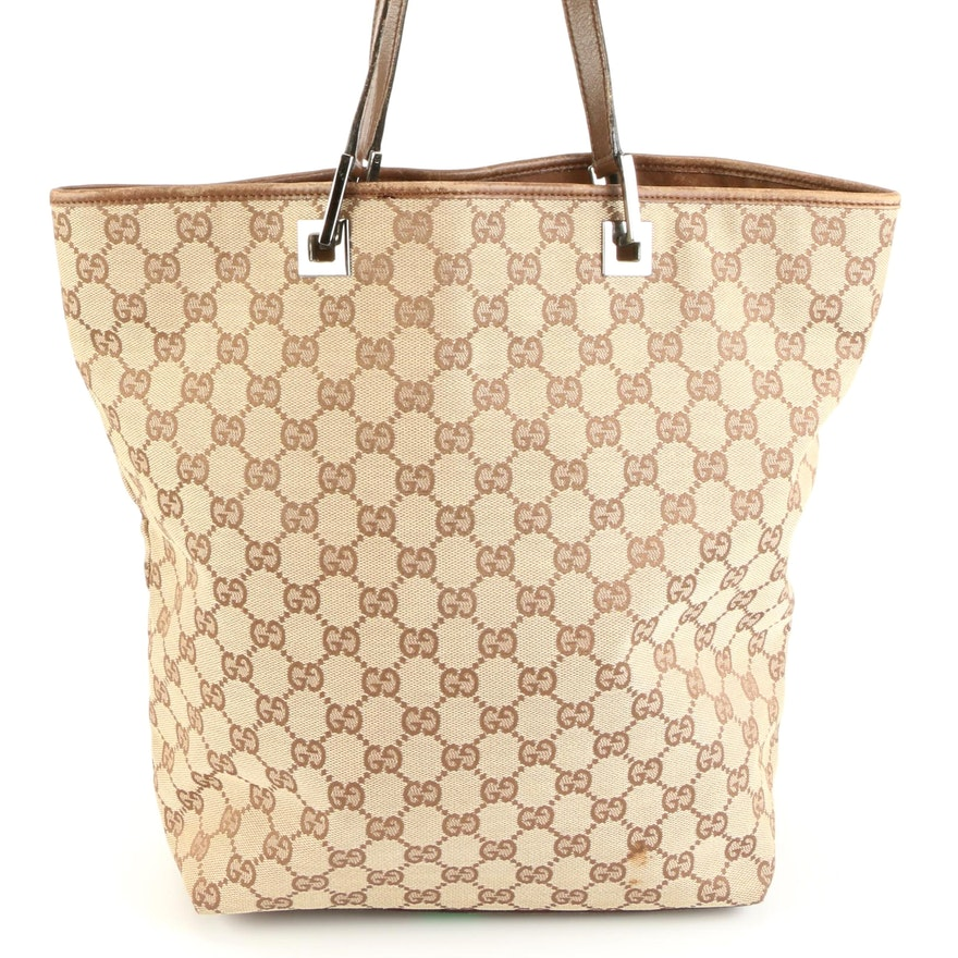 Gucci Tote Bag in GG Canvas with Leather Trim