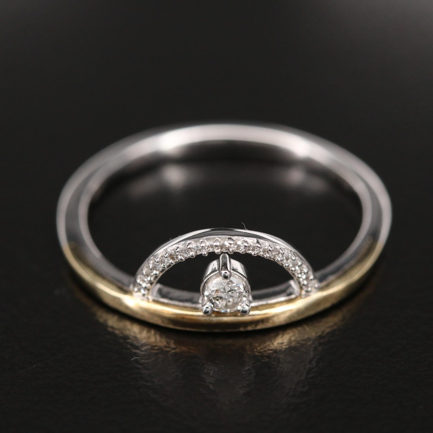 Sterling Diamond Openwork Ring with 10K Accent