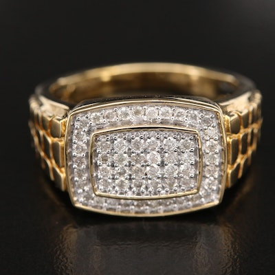Sterling Diamond Cluster Ring with Croc Effect Shoulders