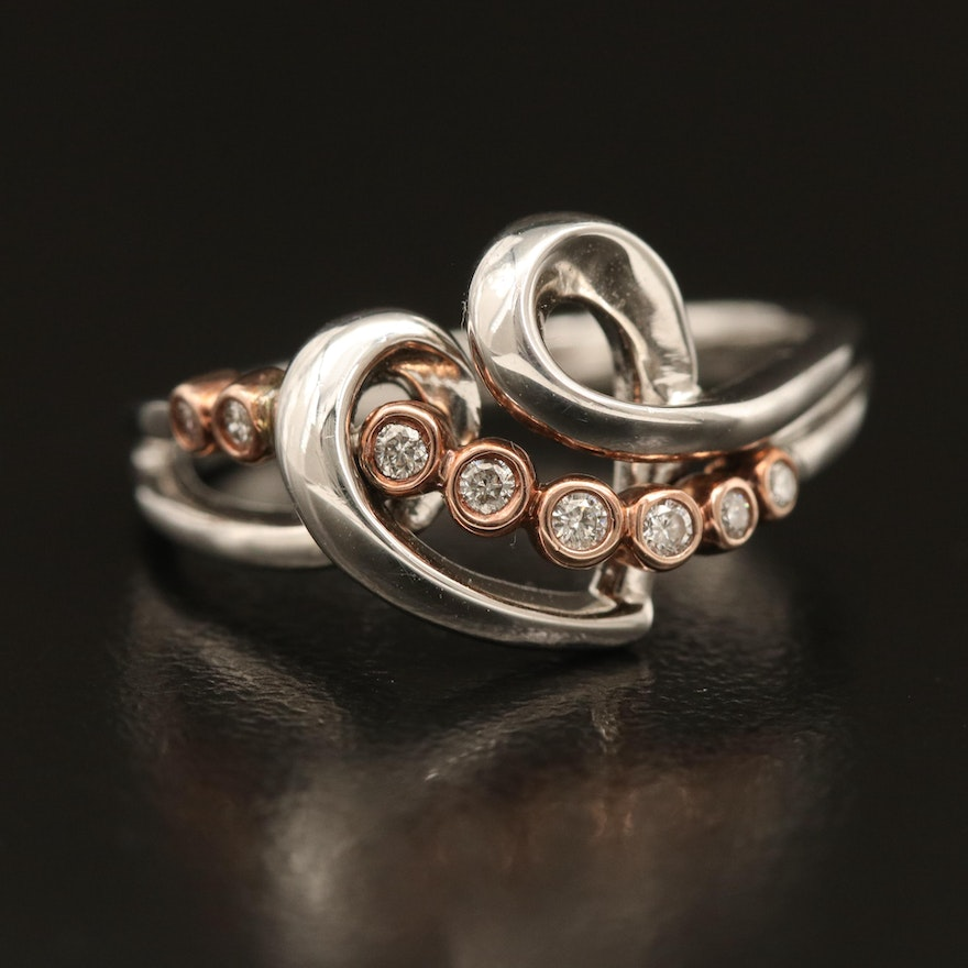 Sterling Diamond Heart Ring with 10K Accent