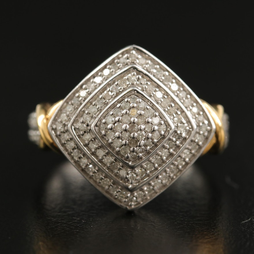Sterling Diamond Double Halo Ring with Crossover Shoulders