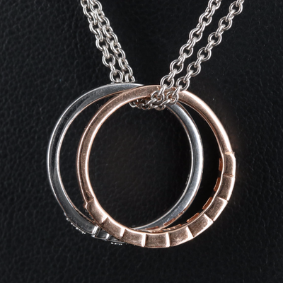 Sterling and 10K Diamond Rings and Double Rolo Chain Necklace