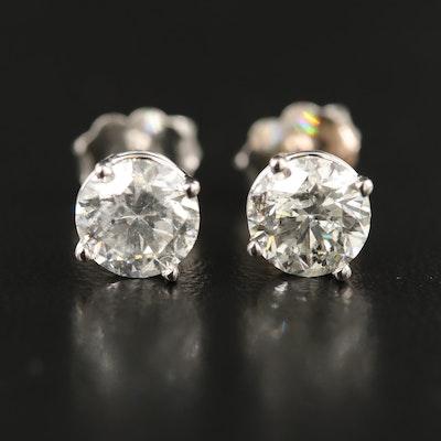 18K 2.02 CTW Diamond Stud Earrings with GIA eReports