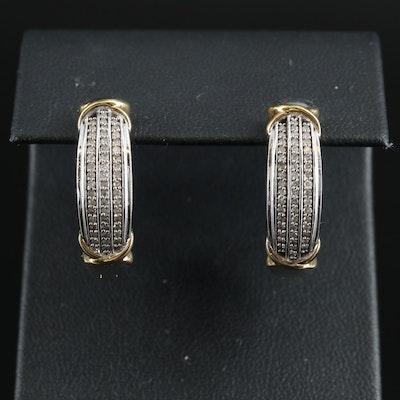 Sterling Diamond Multi-Row Hoop Earrings