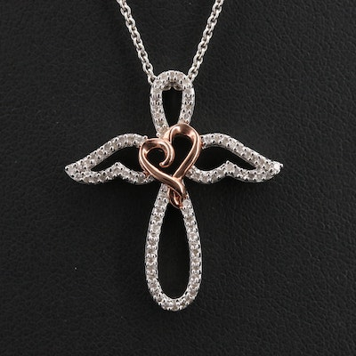 Sterling Diamond Winged Cross and Heart Pendant Necklace