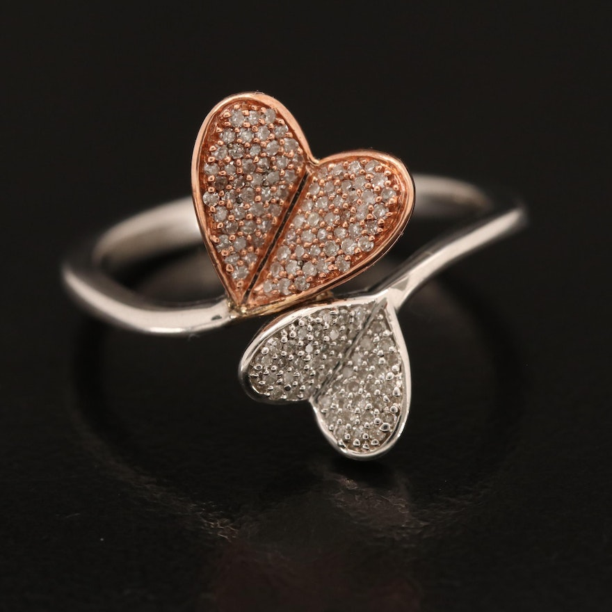 Sterling Diamond Heart Bypass Ring with 10K Rose Gold Accent