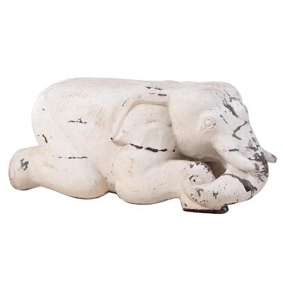 Decorative Painted Wood Kneeling Elephant Seat