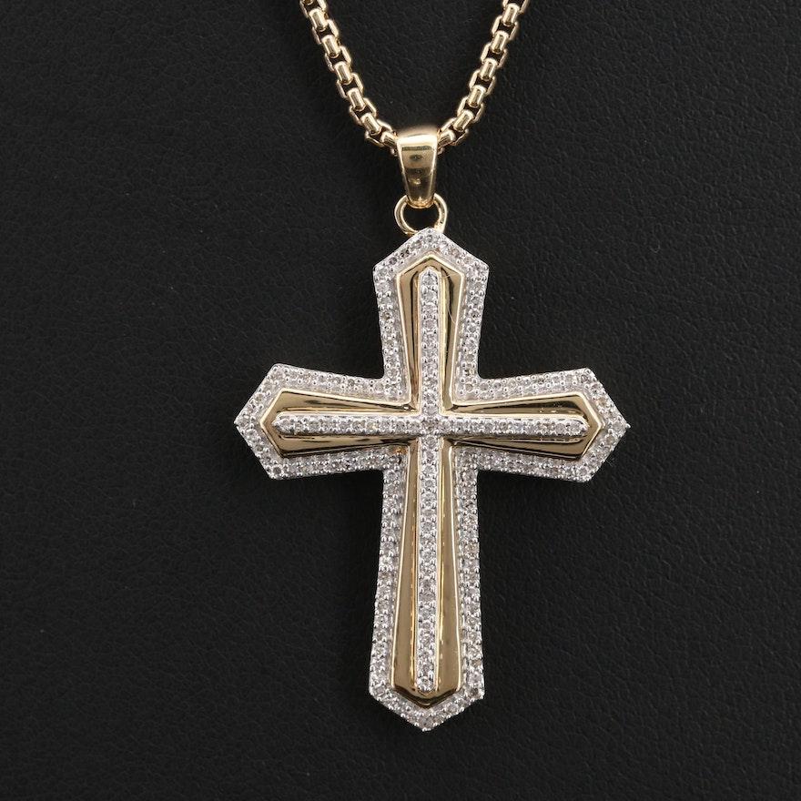 Sterling Diamond Cross Pendant Necklace