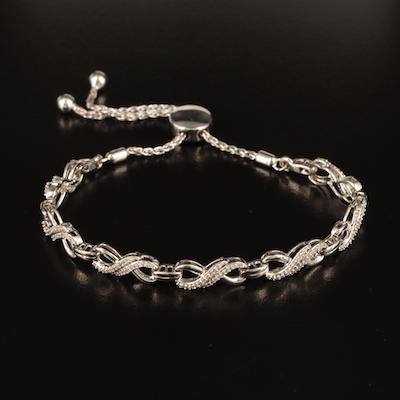 Sterling Diamond Infinity Link Bolo Bracelet