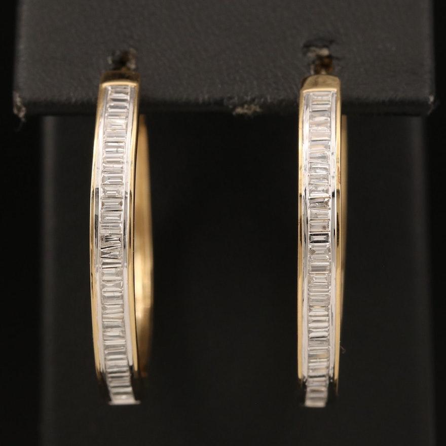 Sterling 1.04 CTW Diamond Hoop Earrings