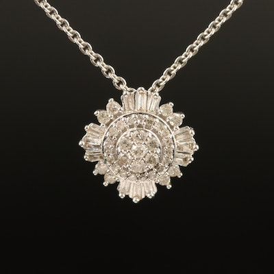Sterling Diamond Tiered Cluster Pendant Necklace