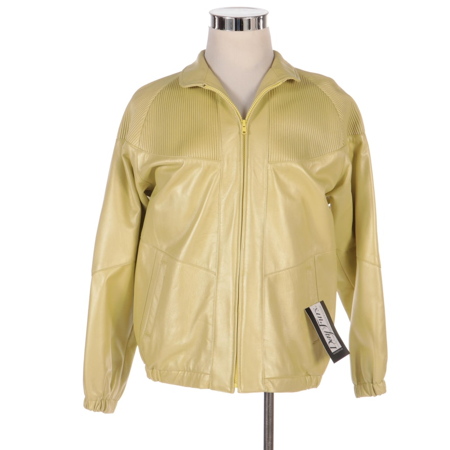 Dero by Rocco D'Amelio for Vincents Chartreuse Leather Jacket with Merchant Tags