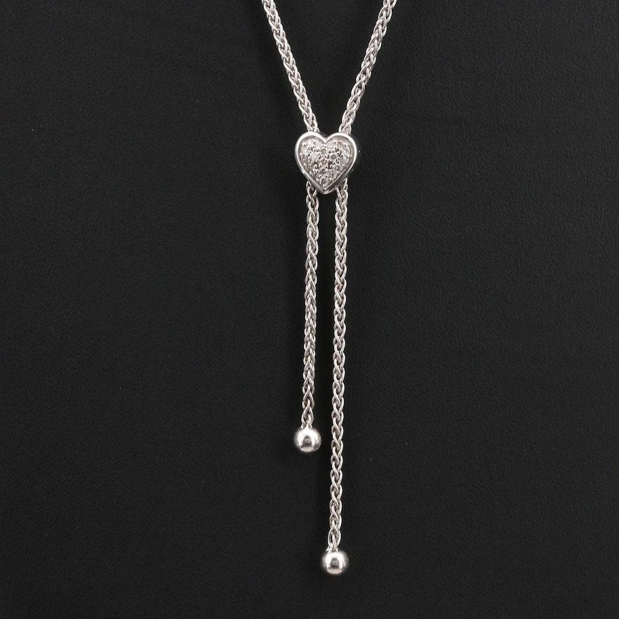 Sterling Pavé Diamond Heart Bolo Necklace