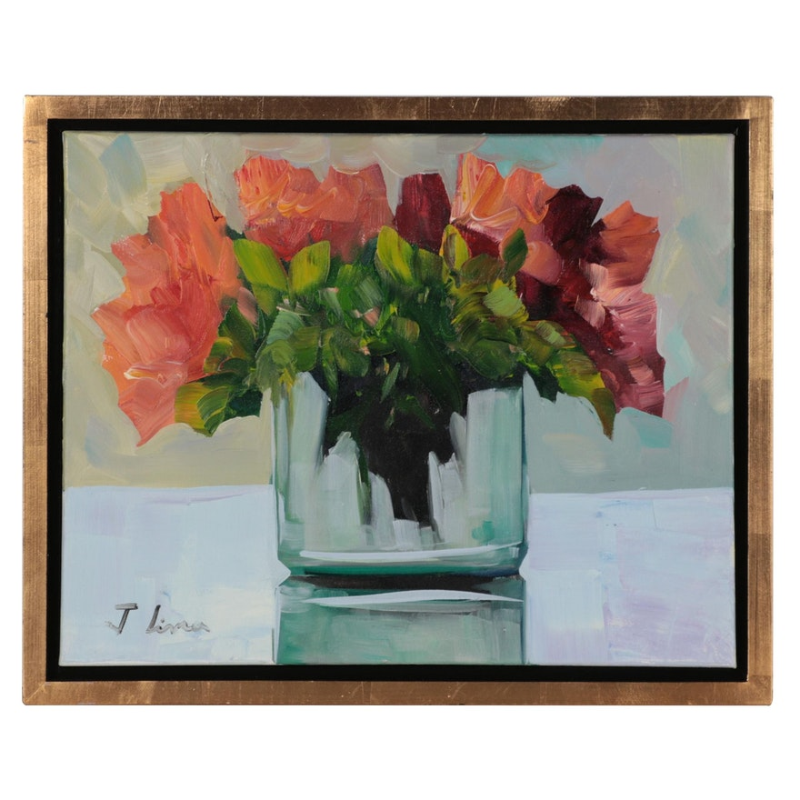 José M. Lima Floral Oil Painting, 21st Century