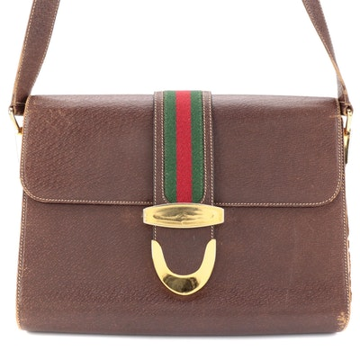 Gucci Shoulder Bag with Flap Closure and Web Detail